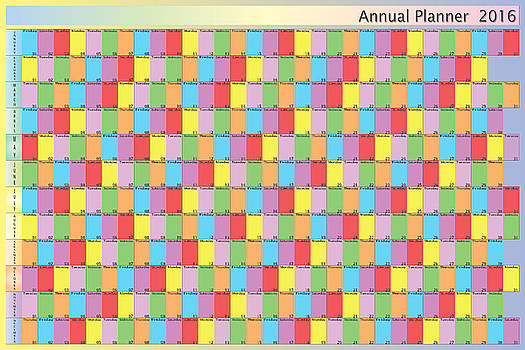 Annual planner 2016 specific color for each day of the week blac by Adrian Bud