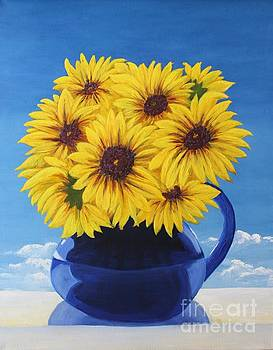 Mary Erbert - Another Sunflower in a Blue Bpicher