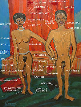 Anterior Anatomy Of A Man And Woman In Mende - Sierra Leone by Mudiama Kammoh