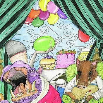 Anti social warthog throws a party by Julie McDoniel