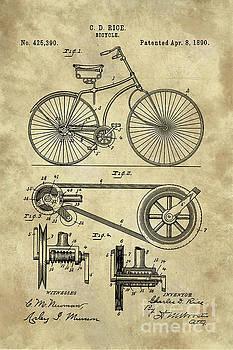 Tina Lavoie - Antique Bicycle Blueprint patent drawing plan, Industrial farmhouse