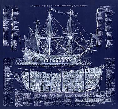 Tina Lavoie - Antique British Warship blueprint plan from 1728