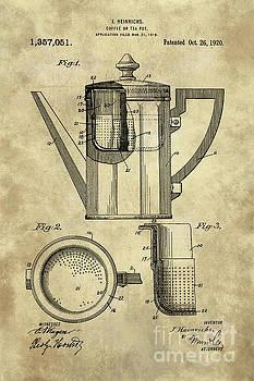 Tina Lavoie - Antique coffee pot blueprint patent illustration, industrial farmhouse kitchen art