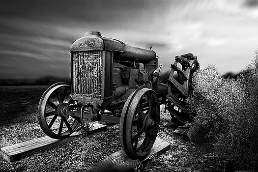 Antique Fordson F Tractor Sunrise Sky in BW by YoPedro