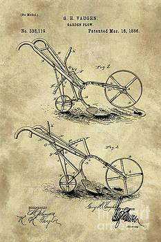 Tina Lavoie - Antique Garden Plow blueprint patent drawing plan, Industrial farmhouse