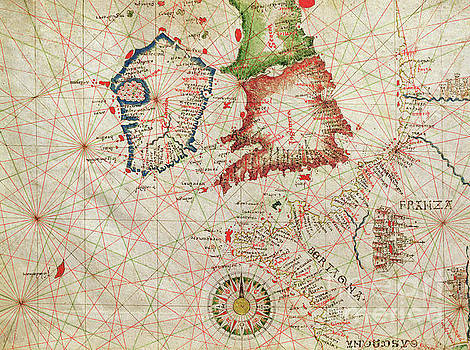 Giovanni Xenodocus da Corfu - Antique Map of the French Coast, England, Scotland and Ireland, from a nautical atlas, 1520