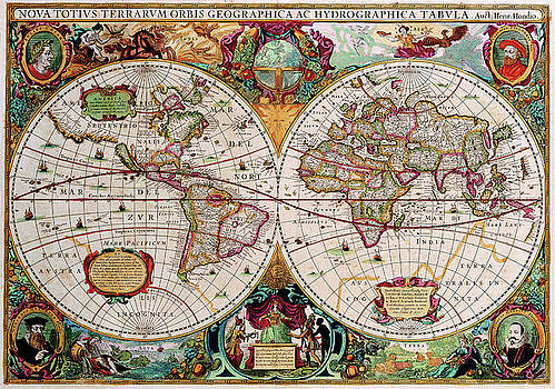 Peggy Collins - Antique Map of the World - Double Hemisphere