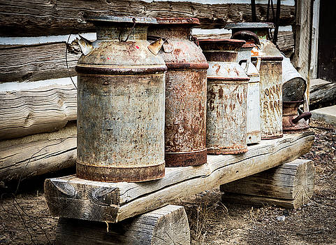 Antique Milk Cans by Nadja Rider