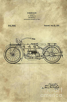 Tina lavoie artwork collection vintage blueprints tina lavoie antique motorcycle blueprint patent drawing plan from 1919 industrial farmhouse malvernweather Image collections