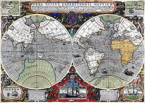 Antique old world map 1595 Restored by Vintage Treasure
