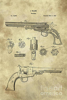 Tina lavoie artwork collection vintage blueprints antique revolver blueprint hand gun patent drawing plan from 1859 by tina lavoie malvernweather Image collections