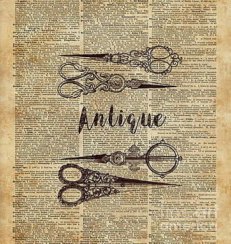 Antique Scissors Old Book Page Design by Anna W