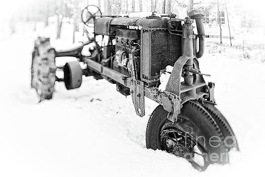 Antique Steel Wheel Tractor Black and White by Edward Fielding