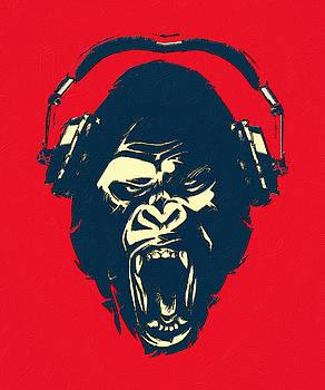 Ape Loves Music With Headphones by Tony Rubino
