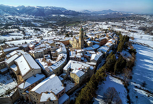 Apiro Italy In The Snow - Aerial image. by David Daniel