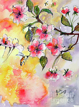 Ginette Callaway - Apple Blossoms and Bee Watercolor