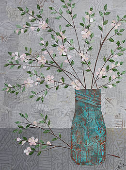 Apple Blossoms in Turquoise Vase by Janyce Boynton