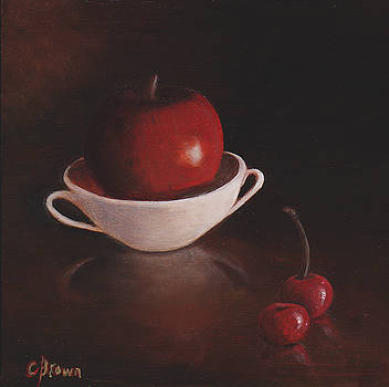 Apple with Cherries by Colleen Brown