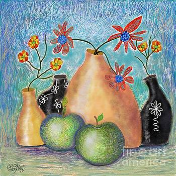 Caroline Street - Apples and Black Vases