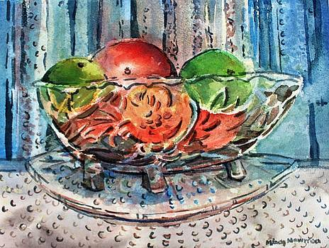 Apples in a Glass Bowl by Mindy Newman