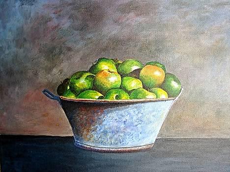 Apples in a rusty bucket by Robert Monk