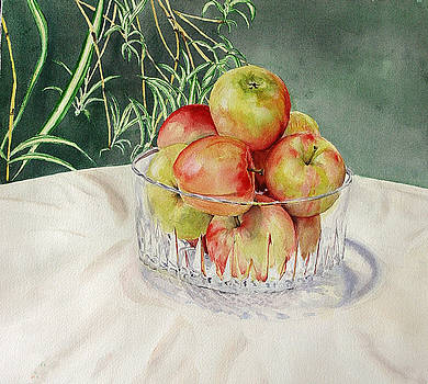 Apples in Crystal Bowl by Mark McKain