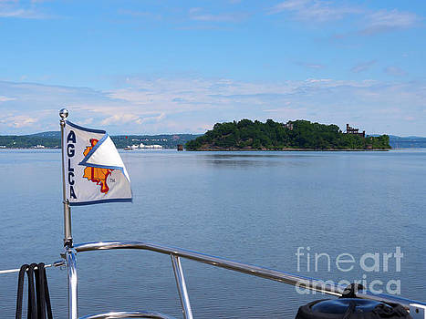 Approaching Pollepel Island on the Hudson River New York by Louise Heusinkveld