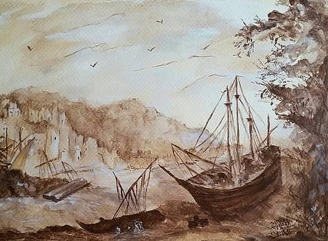 Apres' Claude Lorrain Harbor Scene by Sallie Wysocki