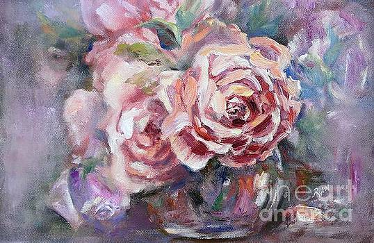 Apricot Rose and Blue Moon Rose by Ryn Shell