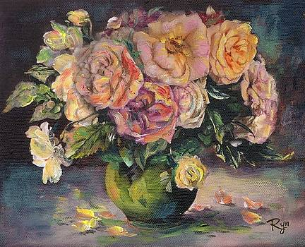 Apricot Roses in Green Vase by Ryn Shell