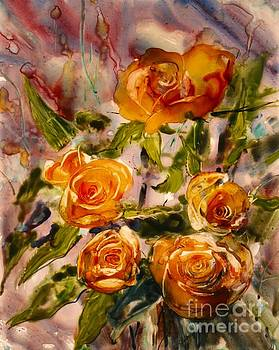 Apricot Roses by Shirley Sykes Bracken