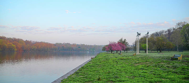 April Morning on the Scyuylkill River in Fairmount Park - Philad by Bill Cannon
