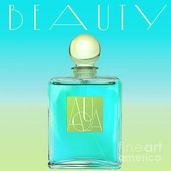 Aqua Art Deco Perfume Bottle by Mindy Sommers