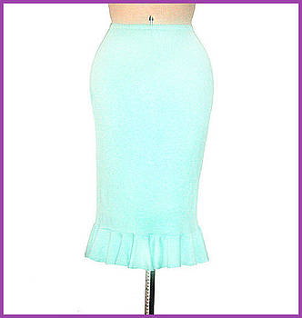 Sofia Metal Queen - Aqua-blue straight skirt with ruffle. Ameynra simple collection 03
