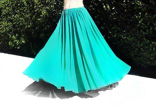 Sofia Metal Queen - Aqua-green chiffon skirt. Ameynra clsassic full-circle skirt
