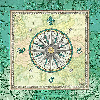 Aqua Maritime Compass by Debbie DeWitt