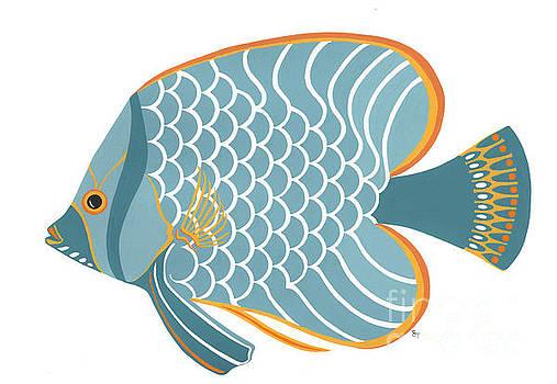 Aqua Mid Century Fish by Stephanie Troxell