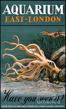 Aquarium Octopus Vintage Poster Restored by Vintage Treasure