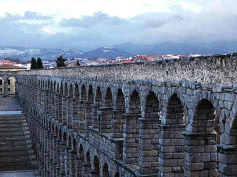 Aqueduct of Segovia with Mountains and Stairs by Alan Socolik