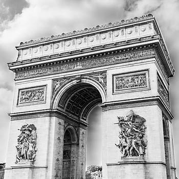 Arch of Triumph - Paris - Black and White by Nila Newsom