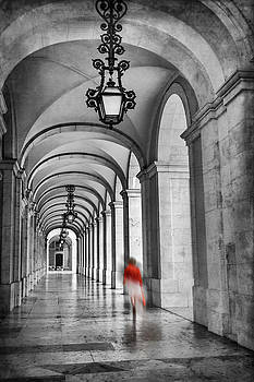 Arched Walkway Terreiro do Paco Lisbon Portugal in Black and White by Carol Japp