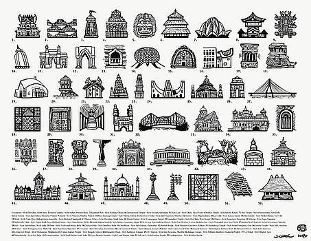 Architectural Icons of India - Large - black and white by Sasank Gopinathan