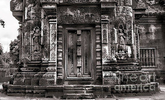 Chuck Kuhn - Architecture Close Up 10th Century Cambodia Temple Sepia