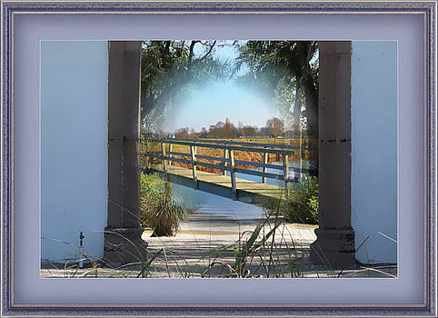 Archway To Wooden Bridge Montage by Clive Littin
