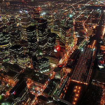 Reimar Gaertner - Arial view of downtown Toronto rail station and financial towers