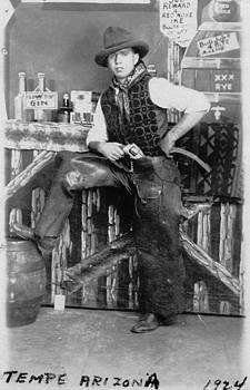 Peter Gumaer Ogden - Arizona Cowboy with His Gun and Chaps at the Log Cabin Bar Tempe Arizona 1924