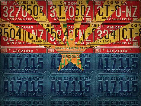 Arizona State Flag Vintage License Plate Art by Design Turnpike
