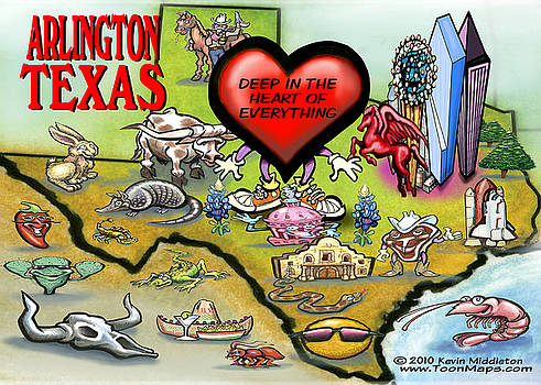 Kevin Middleton - Arlington Texas Cartoon Map