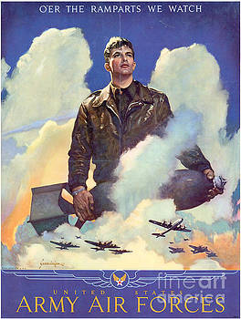R Muirhead Art - Army Air forces Poster Over the Ramparts we Watch