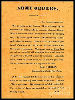 Peter Ogden - Texian Army Orders Call to Arms Broadside from Sam Houston 1836 Texas Revolution